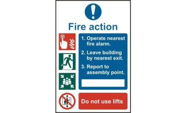 ASEC Fire Action Procedure 200mm x 300mm PVC Self Adhesive Sign