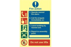 ASEC Fire Action Procedure 200mm x 300mm PVC Self Adhesive Photo luminescent Sign