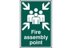 "ASEC ""Fire Assembly Point 200mm x 300mm PVC Self Adhesive Sign"