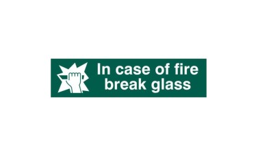 "ASEC ""in Case Of Fire Break Glass"" 200mm x 50mm PVC Self Adhesive Sign"