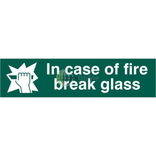 "Main photo of ASEC ""in Case Of Fire Break Glass"" 200mm x 50mm PVC Self Adhesive Sign"