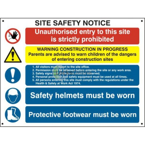 Main photo of ASEC Composite Site Safety Poster 800mm x 600mm PVC Sign