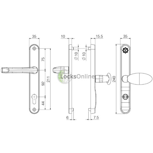 ASEC KITE 92/62 Offset High Security PAS24 TS007 Lever/Pad Handles - 240mm (211mm fixings)