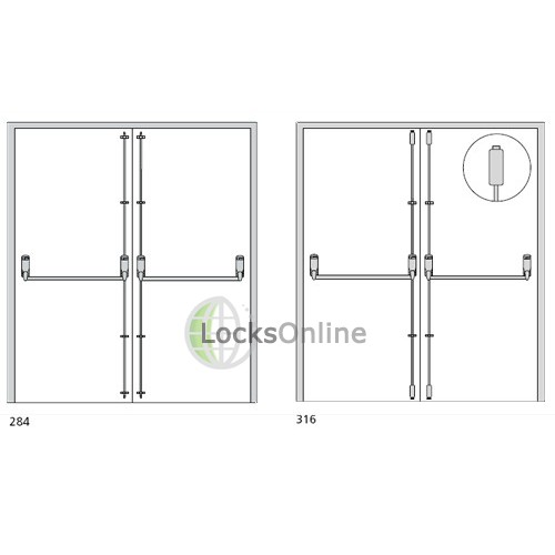 Exidor 284A Double Door Set with Adjustable Shoots EN 1125