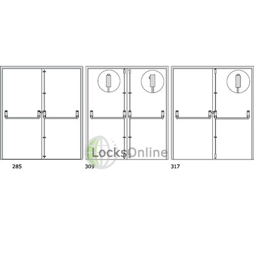Exidor 285A Double Door Set For Rebated Double Doors Adjustable