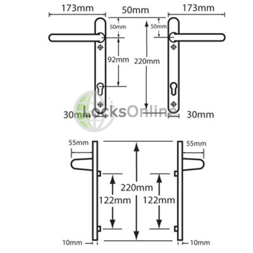 Hoppe 92pz uPVC Handles with Extended Long Levers - 220mm (122mm fixings)
