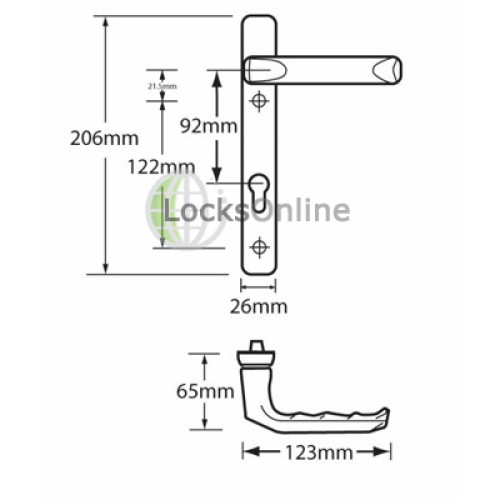 Hoppe 92mm PZ uPVC Handles - 206mm (122mm fixings)