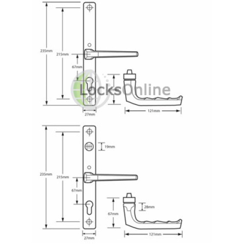 Hoppe 68mm PZ uPVC Handles with Snib - 235mm (215mm fixings)