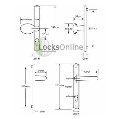 Hoppe Offset 92/70mm PZ Lever & Pad uPVC Handles - 241mm (215mm fixings)