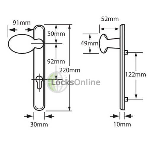 Hoppe 92mm PZ uPVC Door Handles - 220mm (122mm fixings)