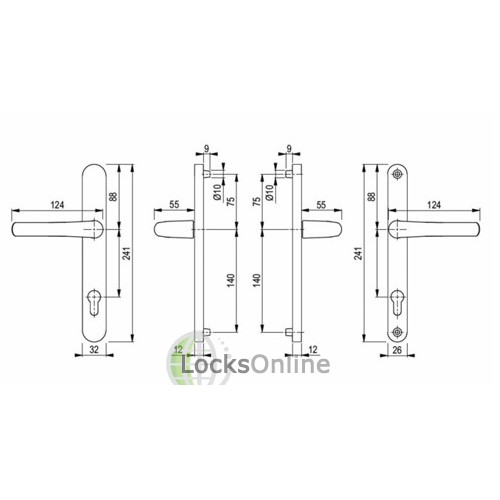 Hoppe 92PZ uPVC Rounded Chunky Handles - 241mm (215mm fixings)