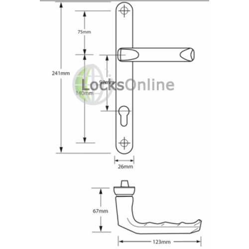 Hoppe 92mm PZ uPVC Door Rounded Handles - 241mm (215mm fixings)