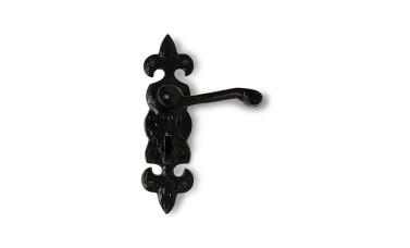Jedo Black Antique Fleur De Lys Bathroom Door Handle