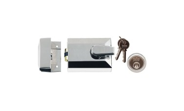 Jedo Rollerbolt Night Latch Door Lock + Escutcheon