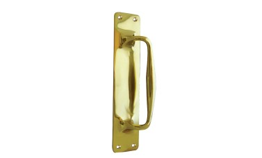 Jedo Polished Brass Pull Door Handle On BackPlate