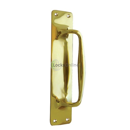Main photo of Jedo Polished Brass Pull Door Handle On BackPlate