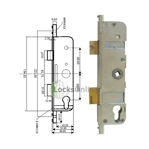 Fullex FL35 Latch and Deadbolt Multipoint Gearbox (Old Style)
