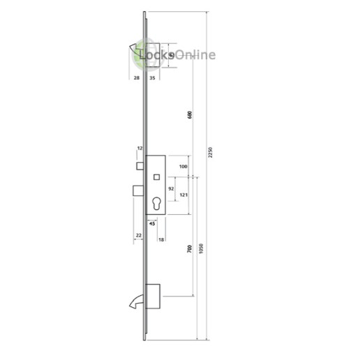 Era 2 Hooks 20mm Radius Faceplate (to suit timber door) Multipoint Lock