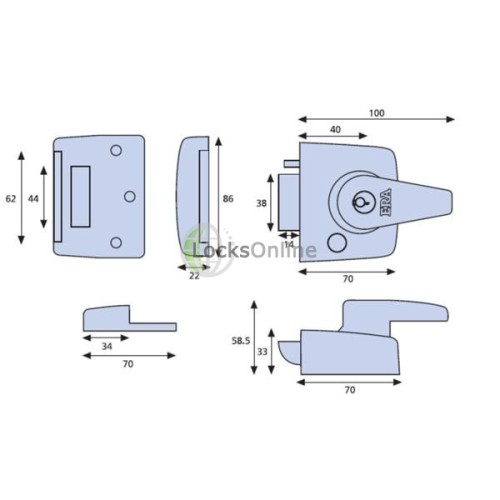 ERA 1530 BS8621:2007 Auto Deadlocking Escape Narrow Style Nightlatch