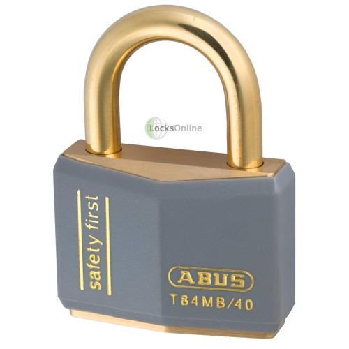 Abus T-84 Brass Padlock and Brass Shackle - Keyed Alike - Coloured Body