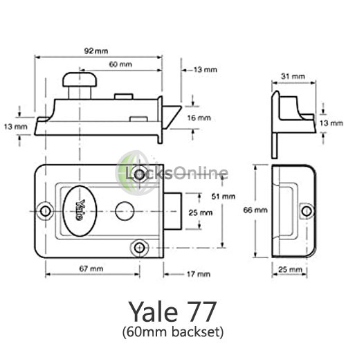 Yale 77 & 706 Traditional Reversible Nightlatch