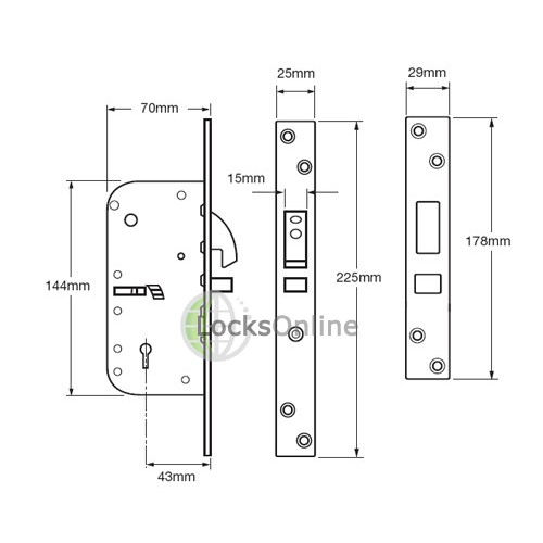 UNION C-Series 3M50 Detainer Sliding Door Lock