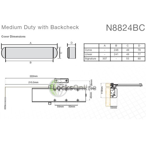 Union N8824 Medium Duty with Backcheck Door Closer