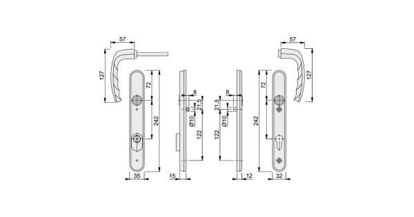 buy hoppe atlanta 92pz pas24 security upvc door handle