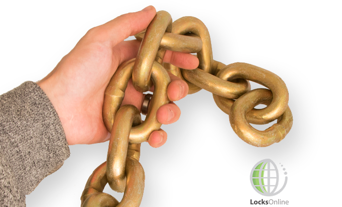 High security chain held in hand