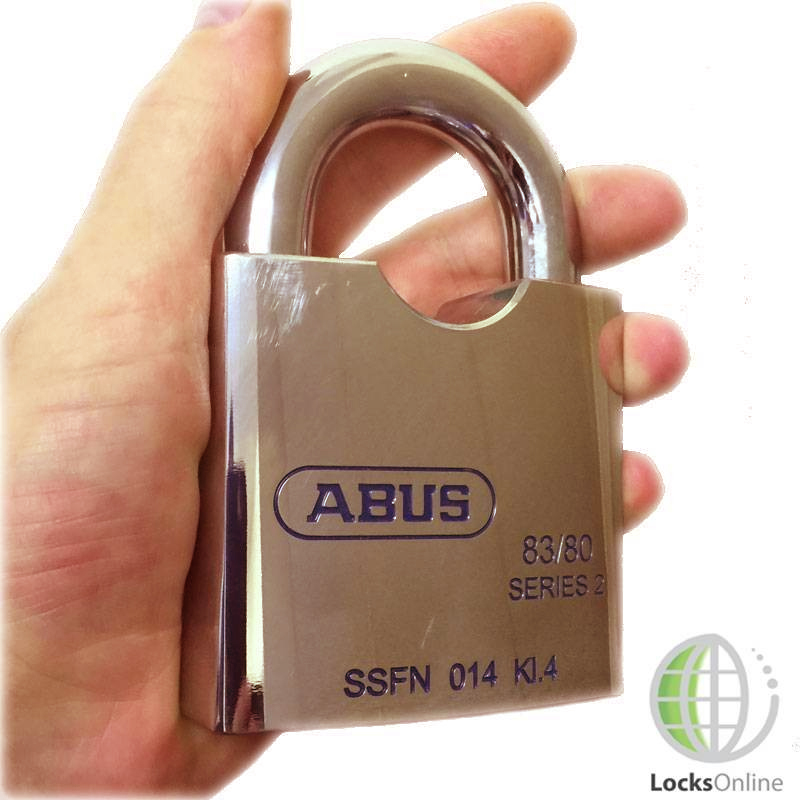 High security padlock held in hand