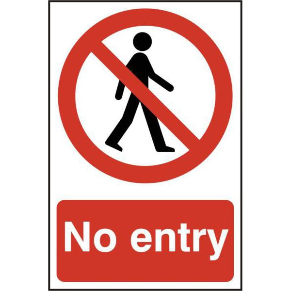 "Image of ASEC ""No Entry"" 200mm x 300mm PVC Self Adhesive Sign"