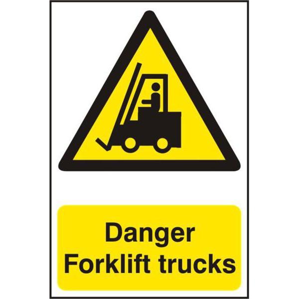 "ASEC ""Danger Forklift Trucks"" 200mm x 300mm PVC Self Adhesive Sign"